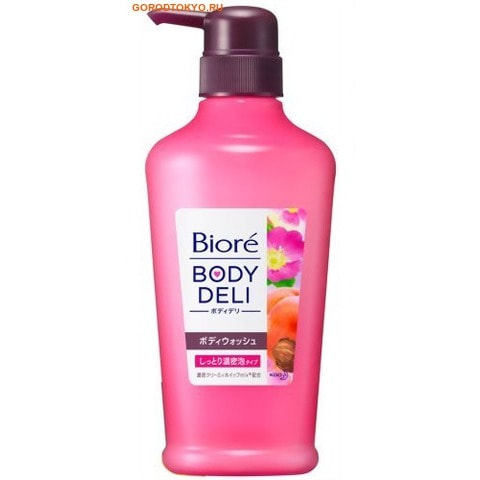 KAO Biore Body deli Гель для душа с очень плотной пеной, с ароматом персика и розы, 400 мл.