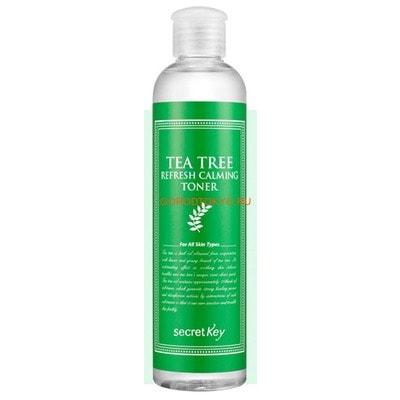 SECRET KEY Tea Tree Refresh Calming Toner Тоник для лица антибактериальный, с маслом чайного дерева, 248 мл.ДЛЯ КОЖИ СКЛОННОЙ К ВОСПАЛЕНИЯМ И УГРЕВОЙ СЫПИ<br>Идеально для ухода за проблемной, склонной к воспалениям кожей.  Является мощным противомикробным средством, эффективным на любой стадии воспаления.  Глубоко очищает кожу, а также нормализует секр...<br>