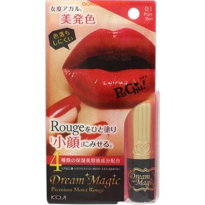KOJI HONPO Dream Magic Premium Moist Rouge Увлажняющая губная помада - 01 - Насыщенный красный.Помада и Блеск для губ<br>Губная помада имеет насыщенный  цвет, увлажняет губы, делает их выразительными, придает объем.  Особенности продукта: <br><br>сохраняет цвет на протяжении длительного времени благодаря кремовой текстуре;<br>придает губам насыщенный и глянцевый оттенок;<br>содержит комплекс увлажняющих компонентов (экстракт меда, гиалуроновая кислота, экстракт маточного молочка, какао-масло);<br>легко наносится на губы, создавая тонкий слой.   <br><br> Способ применения: выкрутить помаду из тюбика примерно на 1 см, после чего нанести ее на губы.   Состав: каприл/каприновый триглицерид, пентаэритрил тетраэтилгексаноат, неопентилгликоль дикапрат, микрокристаллический воск, церестин, парафин, тетрастеарат триацетат сахарозы, полиглицерил-2 лаурат, дипалмитоил гидроксипролин, натрия гиалуронат, гидролизованный протеин меда, масло семян какао, экстракт маточного молочка, феноксиэтанол, вода, пропилпарабен, бутилпарабен, BHT, касторовое масло, слюда, диоксид титана, гидроксид алюминия, сульфат бария, красители.<br>