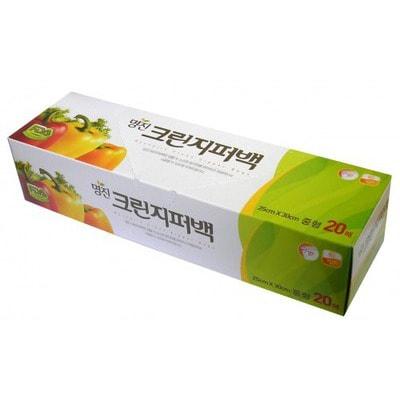 """MyungJin """"BAGS Zipper type"""" Пакеты полиэтиленовые пищевые с застежкой-зиппером (в коробке), 18 x 22 см, 20 шт."""