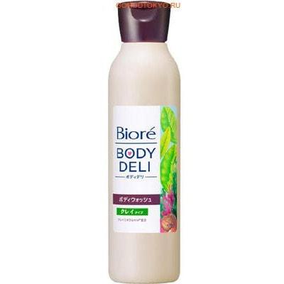 KAO Biore Body Deli Гель для душа для зоны декольте, с глиной, с ароматом трав и зелёного чая, 320 г.