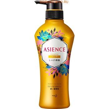 """KAO """"Asience"""" Увлажняющий шампунь для волос, с мёдом и протеином жемчуга, цветочный аромат, 450 мл."""