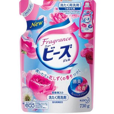 """KAO """"New Beads Fragrance Gel"""" Мягкий гель для стирки белья, с ароматом розовых цветов, запасной блок, 730 г."""