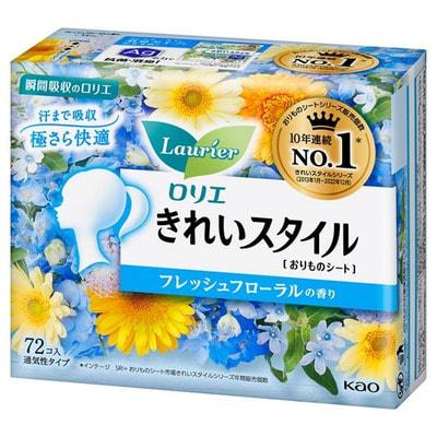 """KAO """"Laurier Beautiful Style"""" Ежедневные гигиенические прокладки, с ароматом свежесобранных цветов, 72 шт."""