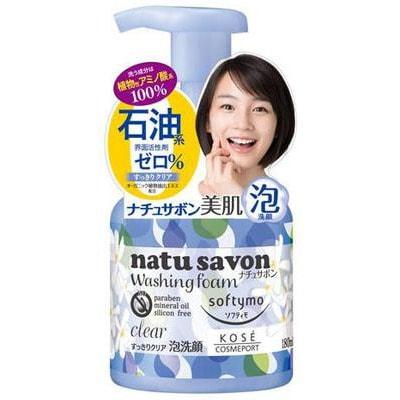 KOSE Cosmeport Softymo Natu Savon Очищающая пенка для лица с разглаживающим эффектом, на основе экстрактов трав, с ароматом свежести, 180 мл.