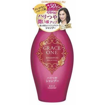 """KOSE Cosmeport """"Grace One"""" Шампунь для волос """"Упругость и сияние"""", для женщин старше 50 лет, без силикона, с ароматом роз и фруктов, 400 мл."""