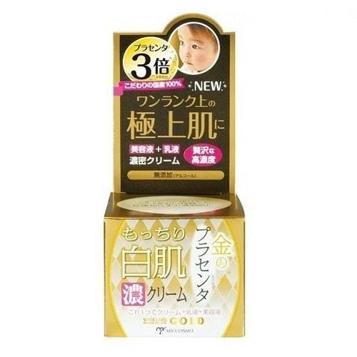 Крем MICCOSMO WHITE LABEL Premium Placenta Gold Cream Крем-эмульсия с экстрактом плаценты, 60 гр.СРЕДСТВА ПРОТИВ ПИГМЕНТАЦИИ - ДЛЯ ОТБЕЛИВАНИЯ КОЖИ<br>Роскошный крем, содержащий в 3 раза больше 100%-го экстракта плаценты, чем обычный крем White Label.<br>Крем  с высокими увлажняющими и омолаживающими свойствами. Свойства молочка и крема в одном средстве.<br> <br>Источник жизни Плацента - что это?<br> <br>Это послед, соединяющий младенца с матерью. Плацента ; это уникальная сокровищница биоактивных соединений, целебные свойства которых известны еще с древности. Она содержит белки, нуклеиновые кислоты, аминокислоты, витамины, минералы, иммуностимуляторы, ферменты и другие активные субстанции, управляющие процессами жизнедеятельности, содержащие около 100 компонентов, которые отвечают за обмен веществ, развитие и продолжение жизни.<br> <br>Косметика на основе компонентов, полученных из Плаценты, обладает помимо увлажняющего, питательного, разглаживающего морщины действия также мощным противовоспалительным, омолаживающим, регенерационным, стимулирующим, рассасывающим и выводящим эффектами.<br> <br>В Японии использование плаценты носит массовый характер. Плацентарная терапия имеет все шансы стать одним из самых действенных способов добиться омолаживающего и оздоровительного эффектов.<br> <br>Плацентарная косметика Miccosmo White Label коренным образом помогает решить проблемы морщин, сухой, серой, потускневшей кожи, сохраняет тепло, оказывает интенсивное действие, делая кожу упругой, яркой и прозрачной, как у младенца.<br> <br>Гипоалергенное средство без добавок. Для лица, возрастной уход от 30 лет.  Состав: Вода, глицерин, BG, пентиленгликоль, масло жожоба, сквален, экстракт плаценты, гидролизованный коллаген, гиалуроновая кислота Na, керамиды NP, керамиды AP, керамиды EOP, трегалоза, карбомер, гидрогенизированное рапсовое масло, феноксиэтанол, гидрогенизированный лецитин, (акрилаты / акриловой кислоты алкил (C10-30)) кросс полимера, гидроксид натрия, этилгексил глицери