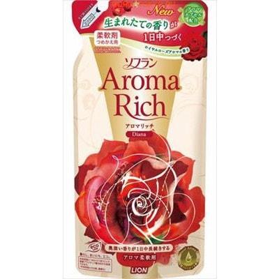 LION SOFLAN Aroma Rich Diana Кондиционер для белья c натуральными маслами английской розы, 450 мл, сменная упаковка.