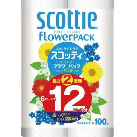 """Crecia """"Scottie FlowerPack"""" Туалетная бумага особоплотной намотки, однослойная, 6 рулонов, 100 м."""