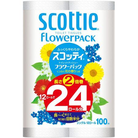 """Фото Crecia """"Scottie FlowerPack"""" Туалетная бумага, двухслойная, 12 рулонов, 100 м.. Купить с доставкой"""
