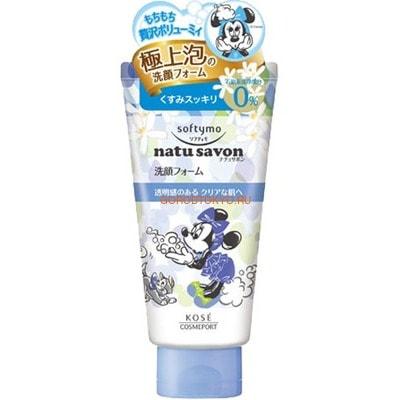 KOSE Cosmeport Natu Savon Очищающая пенка для лица с разглаживающим эффектом, с ароматом свежести, 130 г.
