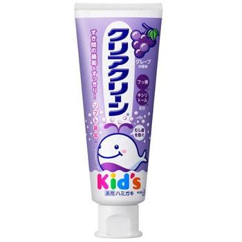 KAO Clear Clean Детская зубная паста с мягкими микрогранулами для деликатной чистки зубов, со вкусом винограда, 70 г.Зубные пасты<br>Детская зубная паста со вкусом винограда деликатно очищает как молочные, так и постоянные зубы ребенка.  Имеет гранулированную структуру, что позволяет отлично справляться с зубным налетом даже в самых недоступных местах.  Лечебный компонент фторид натрия укрепляет эмаль зубов, предупреждает развитие кариеса, оказывает бактерицидное действие в отношении патогенной микрофлоры.  Ксилитол усиливает противокариозную эффективность зубной пасты, обеспечивает легкое противовоспалительное и антимикробное действие. Приятный виноградный вкус пасты освежает полость рта и дыхание ребенка.  Способ применения: нанесите 1 см пасты на зубную щётку.  Не надавливая, чистите зубы не менее трех-пяти минут, последовательно обрабатывая наружные, жевательные и внутренние поверхности всех зубов.  Используйте 2-3 раза в день.  Состав: сорбит (увлажняющий агент), вода, модификатор вязкости, метасиликат натрия, кремниевый ангидрид, диоксид кремния, ароматизатор (виноград), сахарин натрия, ксилит, натрия карбоксиметилцеллюлоза, лаурилсульфат соль (пенообразователь), лекарственные ингредиенты: фторид натрия, консервант.<br>