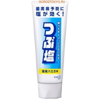 KAO Tsubushio Зубная паста с природной солью для профилактики заболевания дёсен, со вкусом мяты, 180 г.Зубные пасты<br>Зубная паста эффективно предотвращает возникновение заболеваний десен (парадонтита, гингивита). Содержит крупные гранулы соли, укрепляющие десны.  Снижает кровоточивость и воспаление десен, устраняет неприятный запах.  Содержащийся в составе фтор укрепляет зубную эмаль и предотвращает развитие кариеса.  Способ применения: нанесите 1 см пасты на зубную щётку.  Не надавливая, чистите зубы не менее трех-пяти минут, последовательно обрабатывая наружные, жевательные и внутренние поверхности всех зубов. Используйте 2-3 раза в день.  Состав: карбонат кальция, гидрокарбонат натрия, лекарственные ингредиенты: хлорид натрия, монофторфосфат натрия, хлорид бензетония, &amp;beta;- глицирретиновая кислота; жидкий сорбит, концентрированный глицерин, лаурилсульфат натрия (пенообразователь), каррагинан, ароматизатор (мята), сахарин натрия, раствор гидроксида натрия.<br>