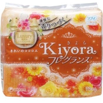 Unicharm Sofy Kiyora Luxury Ежедневные гигиенические прокладки с изысканным ароматом иланг-иланга, 72 шт.На каждый день<br>Женские прокладки Luxury идеально подойдут для ежедневного использования.  Уникальный дышащий слой поверхности прокладки очень мягкий, не раздражает кожу, прекрасно впитывает влагу и не пропускает ее обратно.  Ароматизирующие вещества, находящиеся во внутреннем слое прокладки, препятствуют распространению неприятного запаха и придают прокладке чистый аромат иланг-иланг.  Аромат разработан при участии парфюмеров, имеет большую устойчивость по сравнению с обычными прокладками.  Длина 14 см.   Способ применения: достаньте из упаковки, отклейте защитную полосу, прикрепите к нижнему белью.   Состав: полиэтилен, полиэфир; ароматизатор.<br>