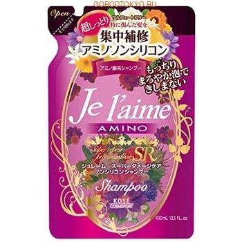 """KOSE Cosmeport """"Je l'aime"""" Шампунь с аминокислотами для повреждённых волос """"Экстраувлажнение"""", без силикона, с фруктовым ароматом, запасной блок, 400 мл."""