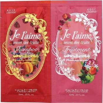 """KOSE Cosmeport """"Je l'aime"""" Увлажняющий шампунь и тритмент для сухих и окрашенных волос """"Глубокое увлажнение"""", без силикона, с фруктово-цветочным ароматом, пробник 10 мл+10 мл."""