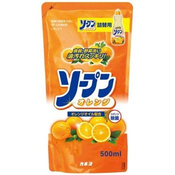 KANEYO Средство для мытья посуды, овощей и фруктов, с ароматом апельсина, запасной блок, 500 мл.Для мытья посуды<br>Жидкость с приятным апельсиновым ароматом предназначена для мытья посуды, кухонной утвари и дезинфекции губок для мытья посуды. Обладает антибактериальным действием и удаляет любые неприятные запахи, например, с разделочных досок. Обильная пена обладает отличными моющими свойствами и легко смывается. Великолепно справляется с жиром даже в холодной воде. Благодаря содержанию моющих компонентов растительного происхождения, средство очень мягко воздействует на кожу рук, не раздражая ее. Подходит для мытья овощей и фруктов.<br> Способ применения: нанести небольшое количество средства на губку, намылить посуду и смыть.  Для стерилизации губки нанести 8 мл средства на губку и оставить до следующего употребления.  Состав: ПАВ (18% алкилбензолсульфонат натрия), стабилизатор.<br>