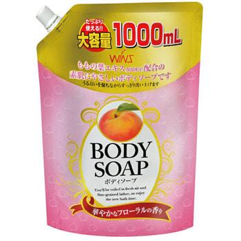 """Фото NIHON Detergent """"Wins Body Soup peach"""" Крем-мыло для тела, с экстрактом листьев персика и богатым ароматом, 1000 мл.. Купить с доставкой"""