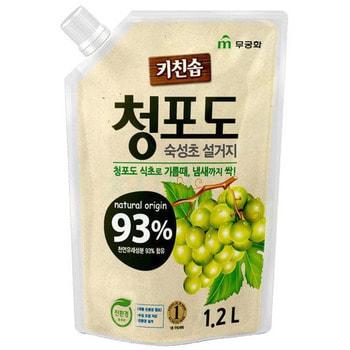 """MUKUNGHWA Премиальное дезодорирующее средство для мытья посуды, овощей и фруктов в холодной воде """"Зелёный виноград"""", 1,2 л."""