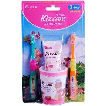 """MUKUNGHWA """"Kizcare"""" Детской зубной набор (стакан, 2 щеточки, гель-паста со вкусом клубники 75 г), с 3 лет."""