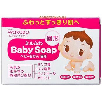 WAKODO Milufuwa Детское туалетное мыло с увлажняющим эффектом, 85 г.Купание малыша<br>Детское мыло на основе растительных компонентов бережно очищает, ухаживает за кожей ребенка с первых дней жизни.  Моющая основа мыла ; это натуральные аминокислоты.  Мыло содержит олигосахариды, фосфолипиды и инозитол ; увлажняющие компоненты, которые находятся в грудном молоке.  Керамиды восстанавливают защитный кожный слой, препятствуют потери влаги.  Мыло имеет нейтральный показатель pH.  Без красителей, отдушек, спирта, ПАВ и минеральных масел.   Способ применения: смочите мыло водой, взбейте пену до получения нужной консистенции, нанесите на кожу, затем смойте водой.  Состав: мыльная основа, глицерин, рафиноза, гидрированный лецитин, инозитол, керамиды, фитостерины, жирные кислоты пальмового масла, жирные кислоты кокосового масла, хлорид натрия, этидронат, EDTA-4Na, вода.<br>