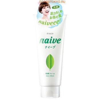 """KRACIE """"Naive"""" Очищающая пенка для лица с экстрактом зелёного чая, с ароматом свежей зелени, 130 г."""