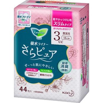 KAO «Laurier Free Day, Light 3 сс» Урологические гигиенические прокладки с дезодорирующим эффектом, с ароматом зелёного чая, длина 14 см, 44 шт.
