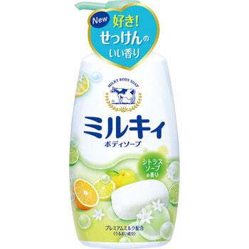 COW «Milky» Жидкое пенное мыло для тела c керамидами и молочными протеинами, с цитрусовым ароматом, 550 мл.Гели для душа, жидкое крем-мыло<br>Густая пена мягко очищает и надолго сохраняет кожу увлажнённой после приёма ванны.  Аминокислоты природного шёлка глубоко проникают в ороговевший слой кожи и прочно удерживают влагу, интенсивно увлажняют и предотвращают шелушение и сухость.  Молочная эссенция обладает значительно выраженным увлажняющим эффектом: сохраняет баланс влаги в клетках кожи, что делает ее нежной и гладкой на ощупь. Мыло обладает сочным цитрусовым ароматом.   Способ применения: нанесите на влажную кожу, помассируйте и смойте водой.  Состав: вода, миристат калия, пальмитат калия, лаурат калия, хлорид калия, кокамид моноэтаноламин, дистеарат, сфингомиелин, обезжиренное молоко, гидролизованный казеин, молочный жир, лактоза молока, отдушка, глицерин, ПЭГ-75, ПЭГ-9M, EDTA-2Na, метилпарабен, пропилпарабен.<br>