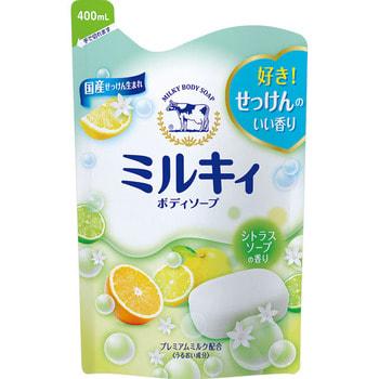 COW «Milky» Жидкое пенное мыло для тела c керамидами и молочными протеинами, с цитрусовым ароматом, запасной блок, 400 мл.Гели для душа, жидкое крем-мыло<br>Густая пена мягко очищает и надолго сохраняет кожу увлажнённой после приёма ванны.  Аминокислоты природного шёлка глубоко проникают в ороговевший слой кожи и прочно удерживают влагу, интенсивно увлажняют и предотвращают шелушение и сухость.  Молочная эссенция обладает значительно выраженным увлажняющим эффектом: сохраняет баланс влаги в клетках кожи, что делает ее нежной и гладкой на ощупь. Мыло обладает сочным цитрусовым ароматом.   Способ применения: нанесите на влажную кожу, помассируйте и смойте водой.  Состав: вода, миристат калия, пальмитат калия, лаурат калия, хлорид калия, кокамид моноэтаноламин, дистеарат, сфингомиелин, обезжиренное молоко, гидролизованный казеин, молочный жир, лактоза молока, отдушка, глицерин, ПЭГ-75, ПЭГ-9M, EDTA-2Na, метилпарабен, пропилпарабен.<br>