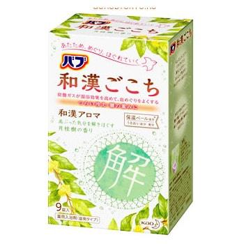 Фото KAO «Wakan» Освежающая соль для ванны в таблетках, для снятия боли и улучшения циркуляции крови, с ароматом лавра, 9 x 50 г.. Купить с доставкой