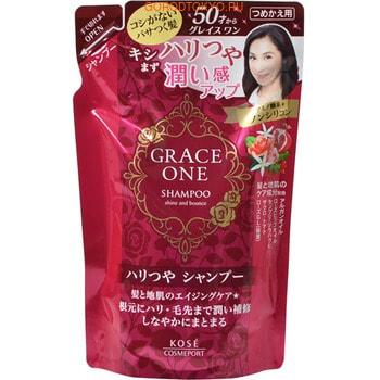 KOSE Cosmeport «Grace One» Шампунь для волос «Упругость и сияние» для кожи после 50 лет, без силикона, с ароматом роз и фруктов, запасной блок, 330 мл.