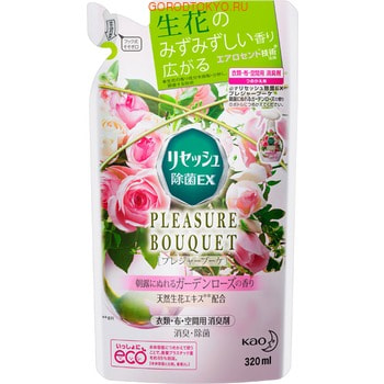 """KAO """"Resesh"""" EX Pleasure Bouquet"""" Дезодорант для дома и одежды с антибактериальным эффектом, аромат садовой розы, сменная упаковка, 320 мл."""