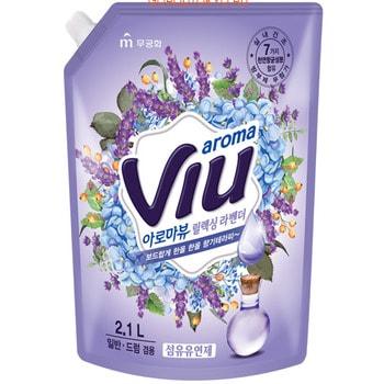MUKUNGHWA «Aroma Viu Mediterranean Lavender» Антибактериальный кондиционер, с ароматом средиземноморской лаванды, запасной блок, 2,1 л.Кондиционеры для белья<br>Не содержит консервантов, искусственных красителей.  Обладает стойким приятным ароматом лаванды. Натуральные цветочные масла раскрываются на тканях во время носки.  Подходит для любых типов и цветов тканей.  Смягчающий, разглаживающий, антистатический, улучшает свойства тканей, прекрасно дезодорирует.  Содержит в составе прополис и 7 антибактериальных компонентов, которые подавляют рост бактерий, вызывающих неприятные запахи при сушке белья в помещении или при пропитывании одежды потом.  Кондиционер дерматологически протестирован, не вызывает аллергию, раздражений.  Многоразовая мягкая упаковка с закручивающейся крышкой.<br>