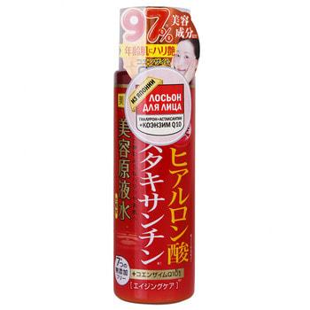 Cosmetex Roland Лосьон для лица с гиалуроном, астаксантином и коэнзимом Q10, 185 мл.АНТИВОЗРОСТНОЙ УХОД (ОТ З0-ТИ ЛЕТ И СТАРШЕ)<br>Астаксантин - мощнее витамина Е в 100 раз, борется со свободными радикалами, устраняет возрастные морщины, повышает иммунитет кожи, укрепляет лицевые мышцы и подтягивает овал лица. Гиалуроновая кислота - удерживает влагу, делает кожу упругой и эластичной. Коэнзим Q10 эффективно прекращает действие свободных радикалов, защищая кожу от преждевременного старения, возвращая свежий цвет лица и повышая местный иммунитет кожи. Результат: кожа эластичная, увлажненная, очищена и освобождена от токсинов, сияет здоровьем и молодостью, овал лица подтянут и морщины становятся менее заметными.  Способ применения: нанести на чистую кожу лица похлопывающими движениями рук или с помощью ватного диска. <br> Состав: Вода, глицерин, пропандиол, трегалоза, EDTA-2Na, цитрат натрия, лимонная кислота, гидроксиэтилцеллюлоза, гидролизованная гиалуроновая кислота, ацетил гиалуронат натрия, гиалуроновая кислота Na, полиглицерил-10 олеат, каприлик каприловый триглицерид, экстракт гематококуса, полиглицерил-10 стеарат, лизолецитин, токоферол, убихинон (коэнзим Q10), гидрированный лецитин, иодпропинил бутилкарбамат, гидроксипропилциклодекстрин, феноксиэтанол.<br>