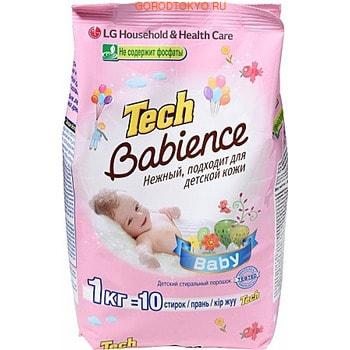 LG «Tech Super Ti» Стиральный порошок детский, для белых и цветных вещей, 1 кг.Средства для стирки детского белья и одежды<br>Бесфосфатный стиральный порошок, специально разработанный для стирки детских вещей.  Подходит для любых типов стиральных машин и для ручной стирки.  Активные компоненты (энзимы) удаляют пятна с детской одежды даже при температуре 30&amp;deg;С, не деформируя структуру волокон ткани.  Порошок хорошо выполаскивается с первого раза и не оставляет белых пятен на одежде.  Подходит для стирки цветного и белого белья.  Прошел дерматологические тесты.  Гипоаллергенный.  Обладает низким пенообразованием.  Оставляет на белье нежный приятный аромат.  В состав порошка добавлены компоненты, препятствующие образованию накипи на элементах стиральных машин.   Состав: 5-15% анионные ПАВ, цеолиты, менее 5% неионогенные ПАВ, агент контроля пенообразования, оптические усилители яркости, энзимы, ароматизирующее вещество.<br>