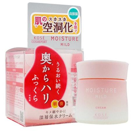 KOSE Cosmeport «Moisture Mild White» Увлажняющий нежный крем для лица, с коллагеном и гиалуроновой кислотой, 60 г.