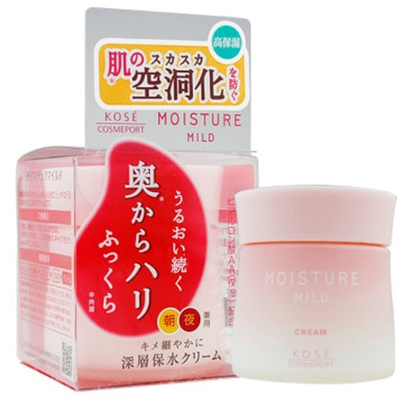"""Kose Cosmeport """"Moisture Mild White"""" Увлажняющий нежный крем для лица, с коллагеном и гиалуроновой кислотой, 60 г."""