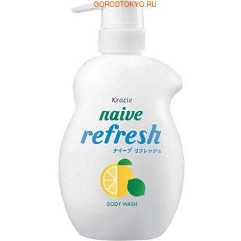 "Kracie ""Naive Refresh"" Освежающий гель для душа с морским илом и ароматом грейпфрута и лайма, 530 мл."