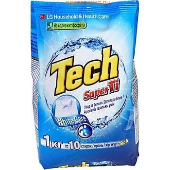 """LG Стиральный порошок """"Tech Super Ti"""", для белых вещей, с отбеливателем, 1 кг."""