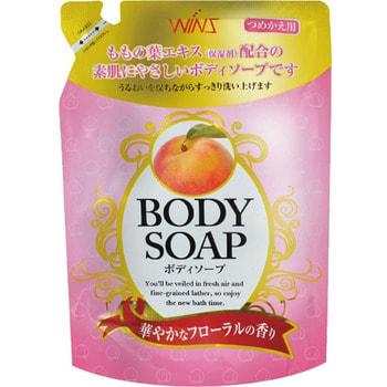 NIHON Detergent Wins Body Soup peach Крем-мыло для тела с экстрактом листьев персика и богатым ароматом, мягкая упаковка, 400 мл.Гели для душа, жидкое крем-мыло<br>Крем-мыло бережно очищает и питает кожу, экстракт листьев персика и глицерин глубоко увлажняют, делают ее бархатистой. Мыло обладает антисептическим и антибактериальным действием. Имеет отличный дезодорирующий эффект, подойдет в т.ч. для спортсменов, людей ведущих активный образ жизни, после применения остается богатый расслабляющий аромат. Мягкая упаковка.<br>