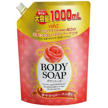 """NIHON Detergent """"Wins Body Soup Rose"""" Крем-мыло для тела с розовым маслом и богатым ароматом, сменная упаковка, 1 литр."""