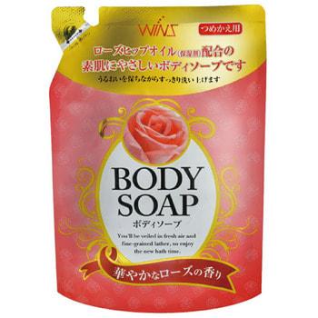 """Фото NIHON Detergent """"Wins Body Soup Rose"""" Крем-мыло для тела с розовым маслом и богатым ароматом, сменная упаковка, 400 мл.. Купить с доставкой"""
