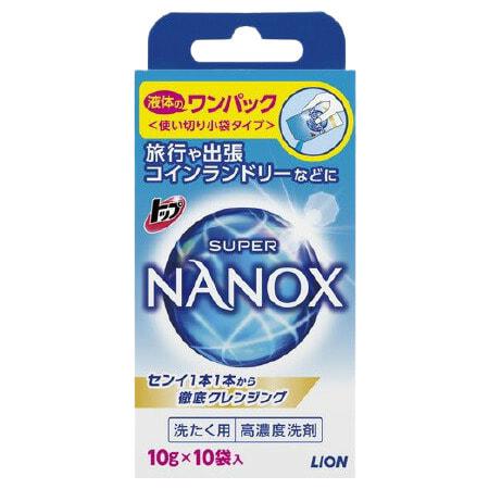 LION «Top Nanox» Гель для стирки, 10 шт. х 10 г.Удаление стойких загрязнений<br>Удалите грязь из самой глубины волокон в любой ситуации! <br>Супер-концентрированный гель TOP NANOX содержит фирменный, разработанный в научных лабораториях компании Lion, компонент MEE, проникающий в волокна в сочетании с моющим усилителем ER, для полного удаления мельчайших частиц грязи и запаха.   <br><br><br> Свойства товара: <br> Супер-концентрированный гель для стирки  TOP NANOX предназначен для удаления не только видимых загрязнений, но и мельчайших НАНО-частиц грязи, находящихся глубоко в волокнах, и создающих неприятный запах и тусклость на одежде, тем самым придавая яркость и свежесть белью на НАНО-уровне. Гель восстанавливает первоначальную яркость и предотвращает будущее изменение цвета тканей и появление посторонних запахов на белье. Супер-концентрированная формула позволяет полностью отмывать любые загрязнения половиной от обычного объема средства для стирки. Полностью смывается с белья, не оставляя налета на ткани. <br> Рекомендуется для любых типов ткани - хлопка, шерсти, шелка, льна, трикотажа, для белого и цветного белья. Гель необходимо использовать только для машинной стирки. <br> Гель оставляет яркий кристально-фруктовый аромат.   <br> Способ применения: <br> Добавьте 1 пачку геля (из расчета 10 мл на 30 л воды) в ячейку для порошка стиральной машины.  Запустите подходящую для вашего типа белья программу. Достаточно ОДНОГО полоскания! <br> Допускатся стирка в холодной воде. <br> Рекомендации:  <br> Также для придания особого аромата и максимальной мягкости белья после сушки рекомендуем использовать кондиционер для белья из серии Soflan или Aroma Rich.  <br> Упаковка: <br> Дорожная упаковка включает 10 пачек по 10 мл геля каждая в компактной пластиковой упаковке.  <br> Данный вид товара имееют основную фасовку - 216056 и запасную фасовку - наполнитель арт. 216063 и 216070.<br>