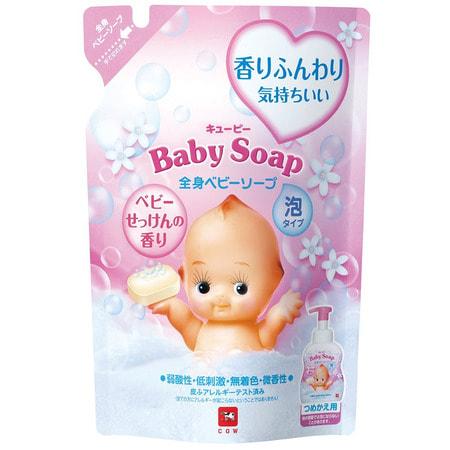 COW «Kewpie» Детская пенка «Без слёз» для мытья волос и тела, с первых дней жизни, с ароматом детского мыла, мягкая упаковка, 350 мл.ДЕТСКИЕ ШАМПУНИ<br>Детское мыло-пенка имеет слабый аминокислотный состав с пониженным Ph, не смывает кожный жир в избыточном количестве, практически неощутимо наносится и смывается, не щиплет глазки.  Мягко воздействует на естественный защитный слой кожи.  Строго протестировано аллергологами.  Подходит для самой чувствительной кожи новорожденных.  Без красителей и без консервантов, не раздражает кожу.  Входящее в состав масло ши ухаживает за нежной кожей, а сквалан бережно увлажняет её.  Пенка имеет нежный аромат детского мыла.<br>