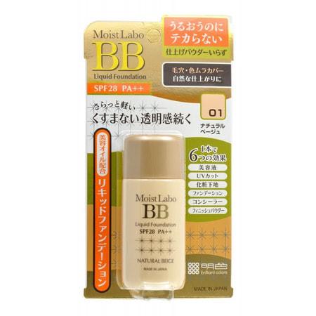 "Meishoku ""Moist-Labo BB Liquid Foundation"" Жидкая тональная основа, 25 мл, тон 1 (натуральный беж). SPF28 PA++. (фото)"