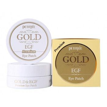PETITFEE «Gold &amp; EGF Eye &amp; Spot Patch» Гидрогелевая маска для кожи вокруг глаз с золотом и EGF «Премиум», 60 шт.КОРЕЙСКАЯ КОСМЕТИКА<br>Гидрогелевая маска для кожи вокруг глаз премиум-класса содержит коллоидное золото, EGF и комплекс растительных компонентов, замедляющий процесс старения кожи. После использования маски Ваша кожа становится упругой, сияющей и здоровой! В человеческом теле всегда присутствует слабое электрическое напряжение.  Оно связано с движением положительных и отрицательных ионов.  Золото в составе маски нормализует движение ионов, тем самым активизируя циркуляцию крови, физиологические функции и регенерацию клеток кожи.  Активные компоненты: <br><br>Коллоидное золото превосходно подтягивает кожу, разглаживает морщины, устраняет эффект усталой кожи, придает фарфоровый цвет лицу и матовое сияние кожи.<br>EGF - фактор роста эпидермиса, регенерации клеток; замедляет процесс старения, способствует обновлению клеток эпидермиса, сохраняя молодость кожи, защищает кожу от повреждений и раздражений, улучшает цвет лица.<br>Экстракт икры насыщает кожу витаминами, микроэлементами, аминокислотами и полезными веществами, способствует разглаживанию морщин.<br>Жемчужная пудра придает сияние коже лица.<br><br>Благодаря плотному прилеганию маски, ее активные компоненты глубоко проникают в клетки кожи.  В процессе использования маска постепенно становится тоньше.  Способ применения: <br><br>Очистите лицо, промокните полотенцем.<br>Избегайте попадания воды в глаза.<br>Аккуратно извлеките гелевую маску из пластиковой упаковки.<br>Снимите прозрачную пленку и наложите на зону вокруг глаз.<br>Оставьте маску на 20-30 минут.<br>Медленно удалите маску с лица, взяв ее за краешек.<br><br>Состав: вода, глицерин, каррагинан, камедь рожкового дерева, гуаровая камедь, BG, хлорид кальция, PEG-60 гидрогенизированное касторовое масло, синтетический фторфлогопит, диоксид титана, оксид железа, гиалуронат натрия, бетаин, минеральное масло, EDTA-2Na, триэтаноламин, экстракт зеле