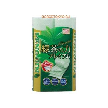 """MARUTOMI """"PENGUIM PREMIUM"""" туалетная бумага трехслойная с ароматом зеленого чая, 12 рулонов, по 20 метров."""