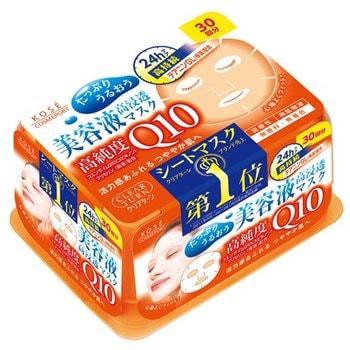 KOSE Cosmeport «Clear Turn» Антиоксидантная маска для лица на нетканой основе с коэнзимом Q10, 30 шт.МАСКИ ДЛЯ ЛИЦА<br>Антиоксидантная маска Clear Turn содержит коэнзим Q10 (убихинон), который восстанавливает жизненный тонус кожи, обогащает её необходимыми веществами и аминокислотами.  Входящий в состав маски глицерин растворяет косметические вещества и обеспечивает их проникновение в глубокие слои эпидермиса.  Увлажняющая композиция из производных трегалозы и экстракта ламинарии японской сохраняет водный баланс кожи.  Маска изготовлена без применения красителей, ароматизаторов, спирта и минеральных масел.  В упаковке 30 масок.   Способ применения: используйте маску на предварительно очищенную кожу.  Откройте крышку и снимите пломбу, закрывающую отверстие внутреннего пакета, содержащего маски.  Возьмите одну маску, расправьте ее и положите на лицо.  Оставьте маску на лице на пять минут.  После снятия маски оставшийся на лице лосьон похлопывающими движениями распределите по коже до полного впитывания.  После снятия маски используйте увлажняющий крем.  Рекомендовано использовать маску 2-3 раза в неделю.  Для более интенсивного увлажнения можно пользоваться ежедневно.   Состав: вода, глицерин, бутиленгликоль, этанол, гликозильная трегалоза, L-теанин, экстракт ламинарии японской, убихинон, ЭДТА-2Na, ПЭГ-50 гидрогенизированное касторовое масло, изостеариновая кислота, триэтилгексаноин, динатрий фосфт, фосфат натрия, гидролизат крахмала, феноксиэтанол, метилпарабен.<br>