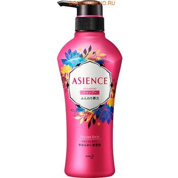 KAO «Asience» Разглаживающий шампунь для волос с маслом арганы и камелии, ароматом белых цветов, 450 мл.