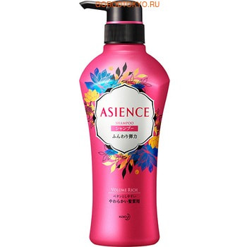 """KAO """"Asience"""" Шампунь для увеличения упругости волос, с экстрактом женьшеня и протеинами шёлка, цветочно-фруктовый аромат, 450 мл."""